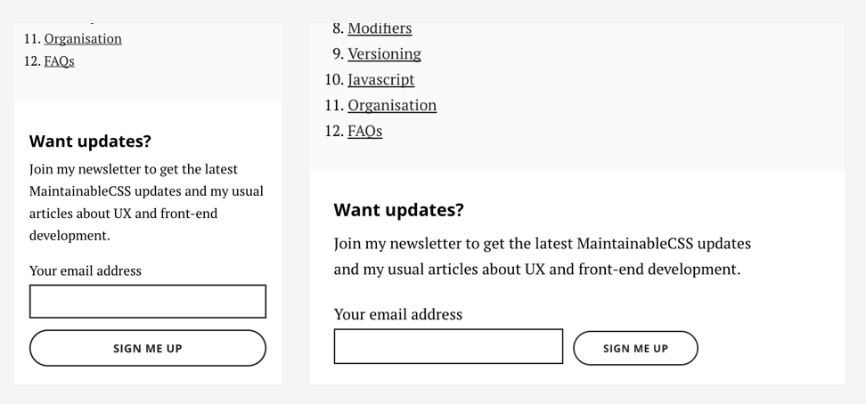 MaintainableCSS subscribe form
